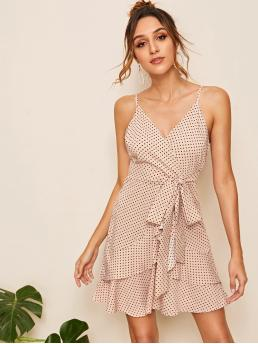 Casual Cami Polka Dot Wrap Regular Fit Spaghetti Strap Sleeveless High Waist Multicolor Short Length Polka Dot Print Belted Cami Dress
