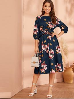 Elegant A Line Floral Flared Regular Fit Boat Neck Three Quarter Length Sleeve Natural Navy Midi Length Floral Print Belted Dress with Belt