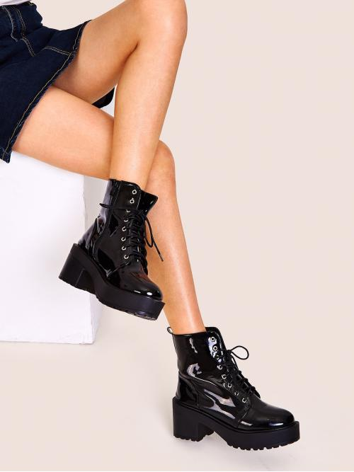 Glamorous Combat Boots Round Toe Plain Platform Side zipper Black High Heel Chunky Lace-up Front Lug Sole Chunky Boots