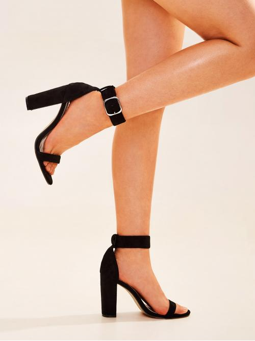 Glamorous Open Toe Ankle Strap Black High Heel Chunky Two Part Ankle Strap Chunky Heels