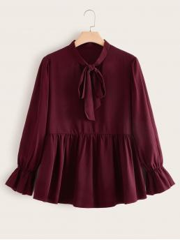 Cute Plain Flared Regular Fit Long Sleeve Flounce Sleeve Burgundy Longline Length Plus Solid Tie Neck Babydoll Blouse