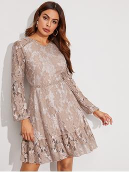Elegant A Line Plain Flared Regular Fit Round Neck Long Sleeve Bishop Sleeve High Waist Nude and Pastel Short Length Solid Double Layer Hem Lace Dress with Lining