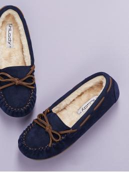 Comfort Round Toe Plain Navy Tie Accent Faux Fur Lined Flat Moccasins