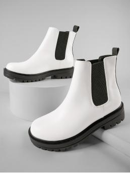 Trending now White Chelsea Boots Low Heel Chunky Faux Leather Ankle Chelsea Booties