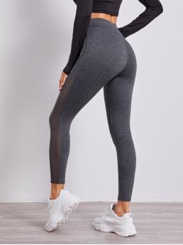 Women's Dark Grey Sheer Regular Plain Mesh Insert Solid Leggings