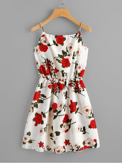 Womens Multicolor all over Print Knot Spaghetti Strap Rose Print Self-tie Braided Dress