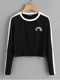 Sporty Round Neck Long Sleeve Black Rainbow Patch Contrast Panel Crop Tee