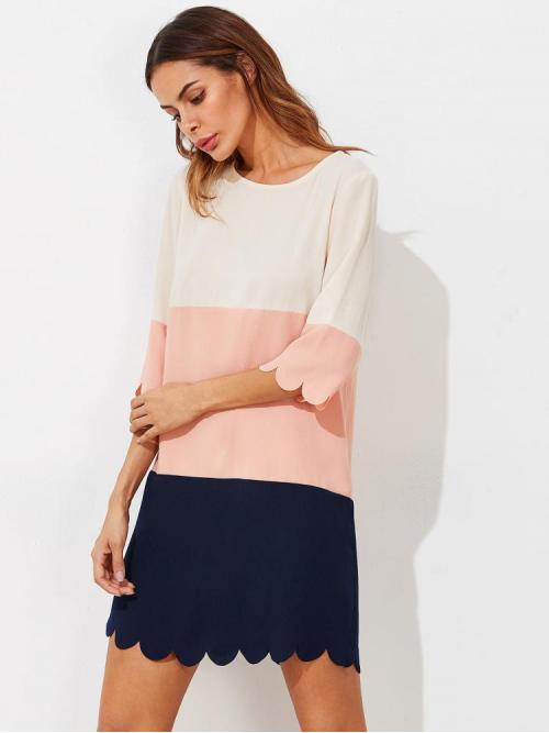 Fashion Multicolor Colorblock Scallop Round Neck Cut and Sewed Dress