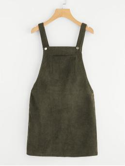 Affordable Army Green Plain Pocket Straps Overall Dress