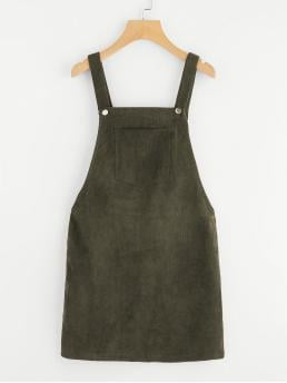 Preppy Pinafore Plain Loose Straps Sleeveless Natural Army Green Short Length Pocket Front Overall Corduroy Dress