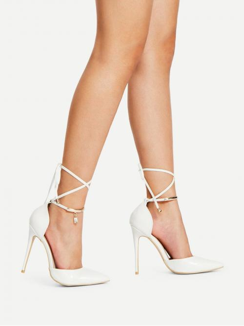 Ankle Strap Point Toe Ankle Strap White