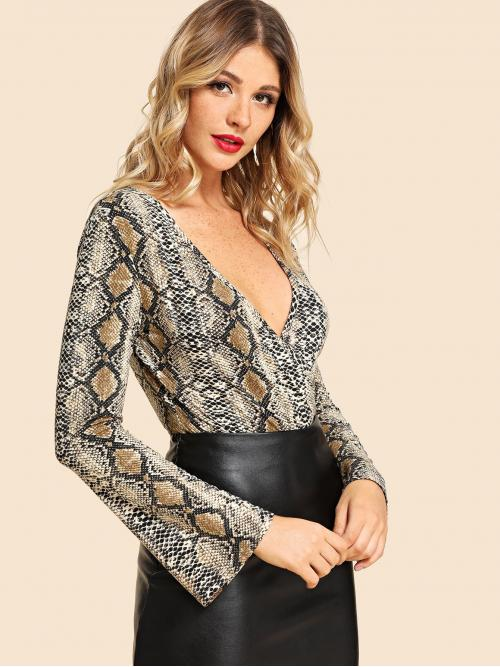 Sexy Tee Animal Regular Deep V Neck Long Sleeve Mid Waist Multicolor Graphic Print Plunging Bodysuit