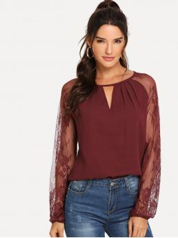Casual Plain Top Regular Fit Round Neck Long Sleeve Pullovers Burgundy Regular Length Lace Raglan Sleeve Keyhole Blouse