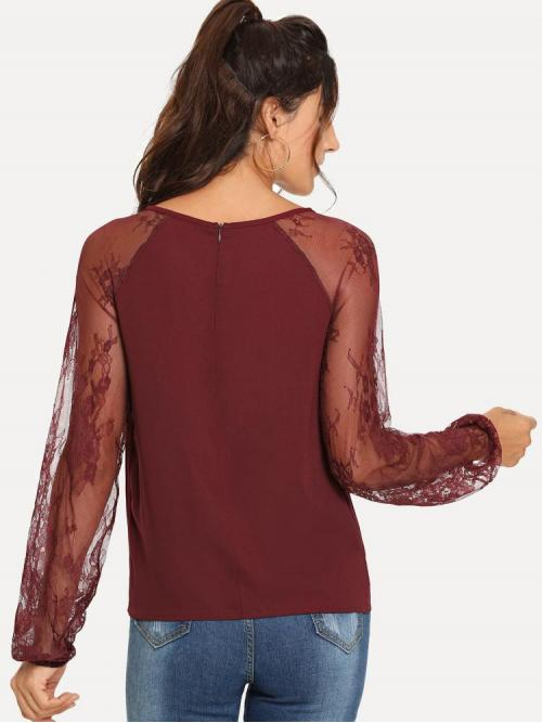 Clearance Long Sleeve Top Contrast Lace Polyester Lace Keyhole Blouse