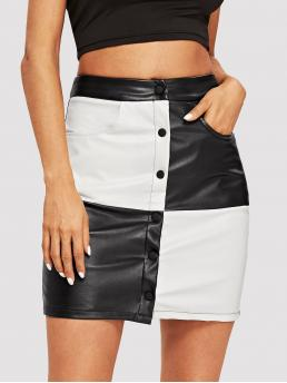 Black and White Natural Waist Button Bodycon Two-toneed Discount