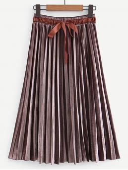 Affordable Brown Natural Waist Pleated Pleated Knot Front Velvet