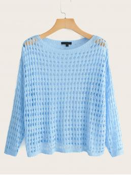 Casual Plain Regular Fit Round Neck Long Sleeve Pullovers Blue Regular Length Cut-out Sheer Knit Tee