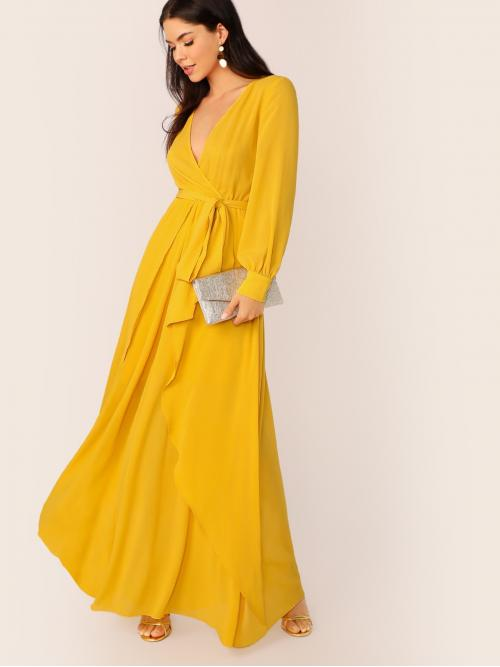 Casual A Line Plain Wrap Regular Fit V neck Long Sleeve Bishop Sleeve High Waist Yellow Maxi Length Self Belted Maxi Dress Wrap Skirt with Belt