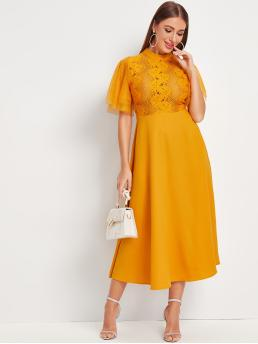 Elegant A Line Plain Flared Regular Fit Stand Collar Short Sleeve Layered Sleeve High Waist Yellow and Bright Long Length Dobby Mesh Sleeve Lace Bodice Fit and Flare Dress