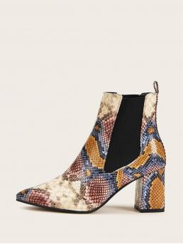 Business Casual Snakeskin Print Ankle No zipper Multicolor Mid Heel Chunky Point Toe Snakeskin Print Chunky Heeled Chelsea Boots