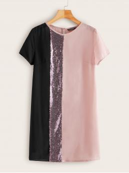 Casual Tunic Colorblock Straight Loose Round Neck Short Sleeve Regular Sleeve Natural Pink Short Length Contrast Sequin Detail Keyhole Back Tunic Dress