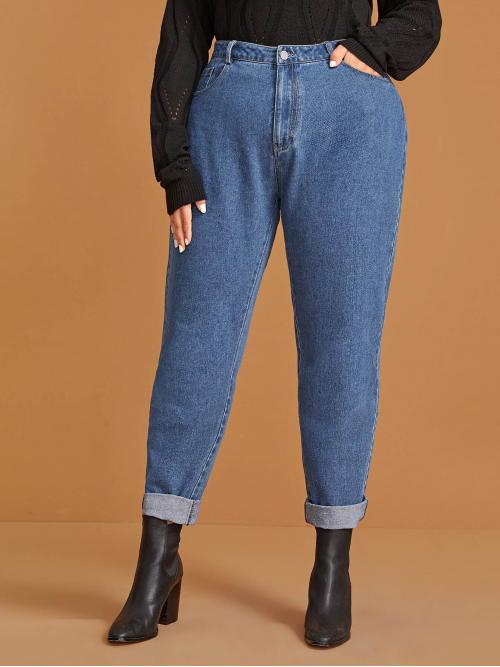 Casual Tapered/Carrot Plain Regular Fit Button Fly High Waist Blue Long Length Plus Solid Rolled Hem Mom Jeans
