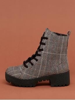 Comfort Combat Boots Almond Toe Houndstooth and Plain No zipper Grey Mid Heel Chunky Lace Front Platform Lug Sole Plaid Combat Boots