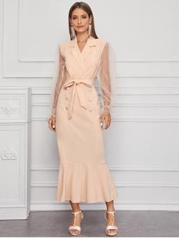 Affordable Apricot Plain Belted Lapel Dobby Mesh Sleeve Self Tie Dress