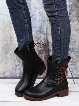 Women's Black Lace up Pu Leather Rubber Emery Rose Back Combat Boots