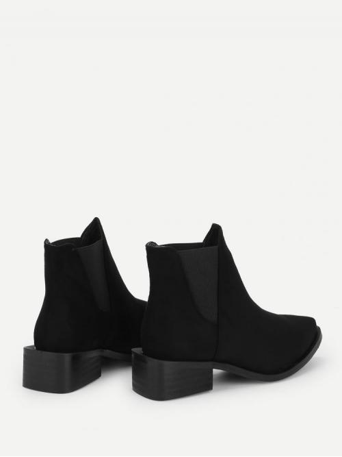 Women's Polyester Black Chelsea Boots Cut out Chelsea Boots