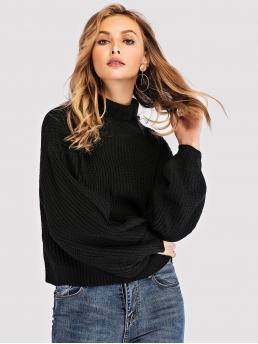 Long Sleeve Pullovers Studded Tweed Solid High-neck Sweater Fashion
