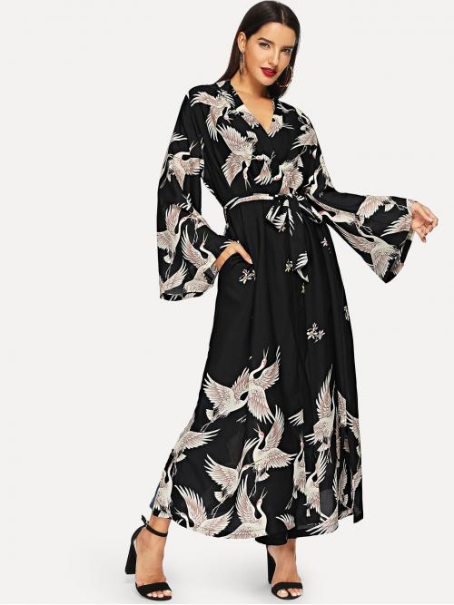 Cheap Multicolor Animal Belted V Neck Crane Print Surplice Dress