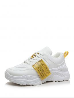 Comfort Round Toe Letter White Lace-up Chunky Sole Trainers