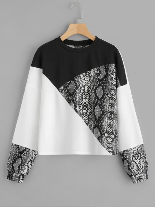 Casual Pullovers Colorblock Regular Fit Round Neck Long Sleeve Multicolor Regular Length Color Block Snake Skin Pullover