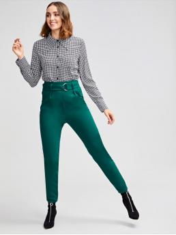 Elegant Plain Skinny High Waist Green Long Length Ring Belted Slant Pocket Solid Skinny Pants with Belt