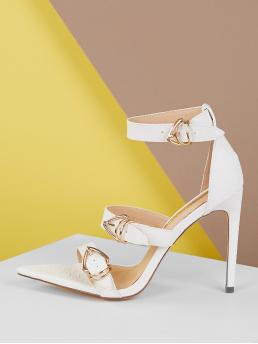 Glamorous Open Toe Ankle Strap White High Heel Stiletto Crocodile Embossed Pointed Sole Buckled High Heels