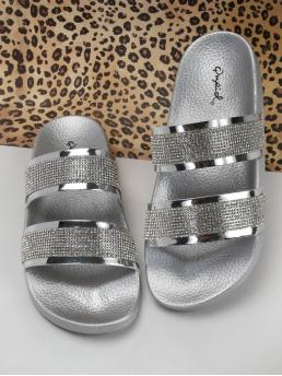 Comfort Open Toe Silver Two Diamante Band Slide On Footbed Sandals