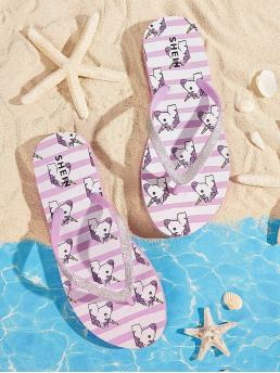 Boho Flip Flops Animal Purple Glitter Detail Unicorn Print Toe Post Slippers