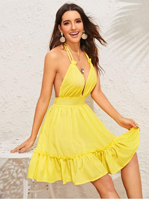 Boho Fit and Flare Plain Flounce Regular Fit Deep V Neck and Halter Sleeveless High Waist Yellow and Bright Short Length Plunging Neck Open Back Frilled Halter Dress
