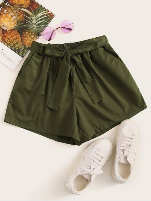 Casual Plain Wide Leg Regular Elastic Waist Mid Waist Army Green Belted Wide Leg Solid Shorts with Belt
