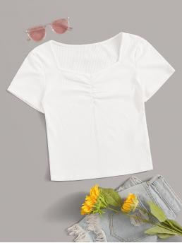 Casual Plain Slim Fit Sweetheart Short Sleeve Pullovers White Crop Length Solid Ruched Rid-knit Tee