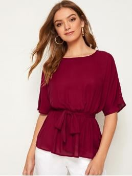 Elegant Plain Flared Peplum Regular Fit Round Neck Half Sleeve Regular Sleeve Pullovers Burgundy Regular Length Solid Ruffle Hem Belted Top with Belt