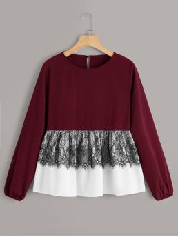 Casual Flared Peplum Regular Fit Round Neck Long Sleeve Regular Sleeve Pullovers Burgundy Regular Length Contrast Lace Keyhole Back Peplum Blouse