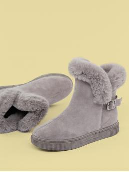 Comfort Other Almond Toe Plain No zipper Grey Low Heel Faux Shearling Cuff Cold Weather Boots