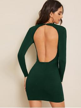 Sexy Bodycon Plain Pencil Slim Fit Round Neck Long Sleeve Regular Sleeve Natural Green Mini Length Open Back Solid Bodycon Dress