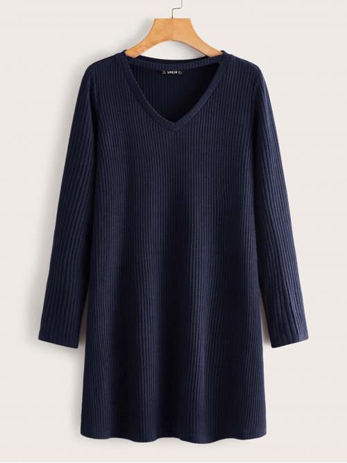 Casual Tee Plain Straight Loose V neck Long Sleeve Regular Sleeve Natural Navy Short Length Solid Rib-knit Tee Dress