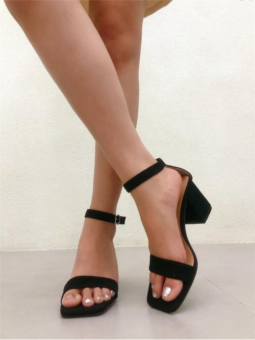 Discount Black Strappy Sandals High Heel Chunky Two Part Heeled Sandals
