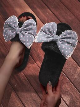 Womens Grey Bedroom Slippers Bow Open Toe Pattern Decor Fluffy Home Slippers