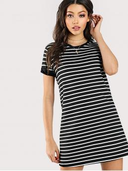 Basics Tee Striped Straight Loose Round Neck Short Sleeve Natural Black and White Short Length Striped Tee Dress