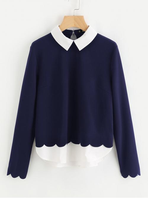 Casual Top Regular Fit Collar Long Sleeve Pullovers Navy Scalloped Trim 2 In 1 Blouse